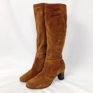 Vtg 70s Trotters Boots Suede Knee High Gold Trim